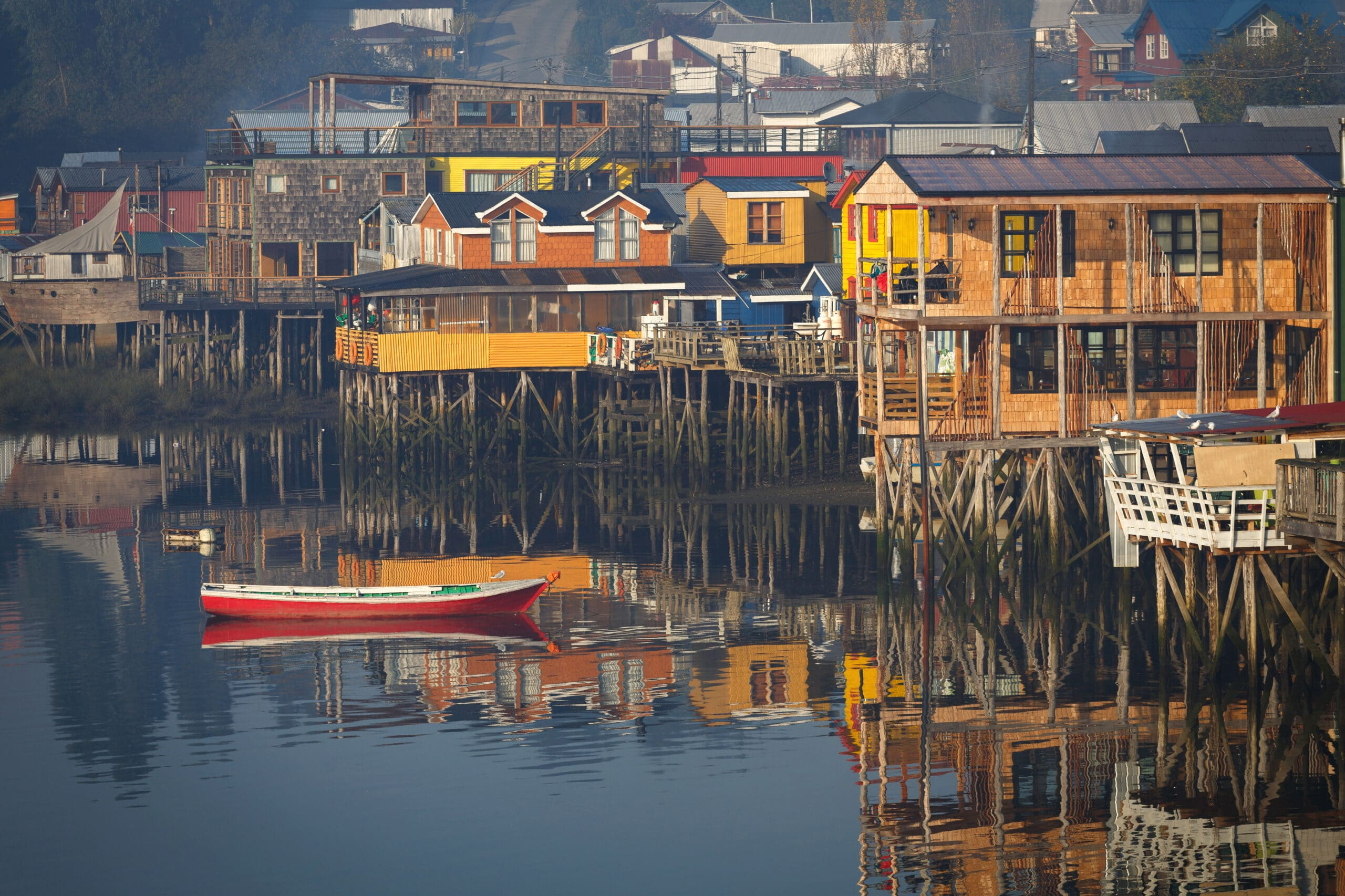 Houses on stilts (palafitos) in Castro, Chiloe