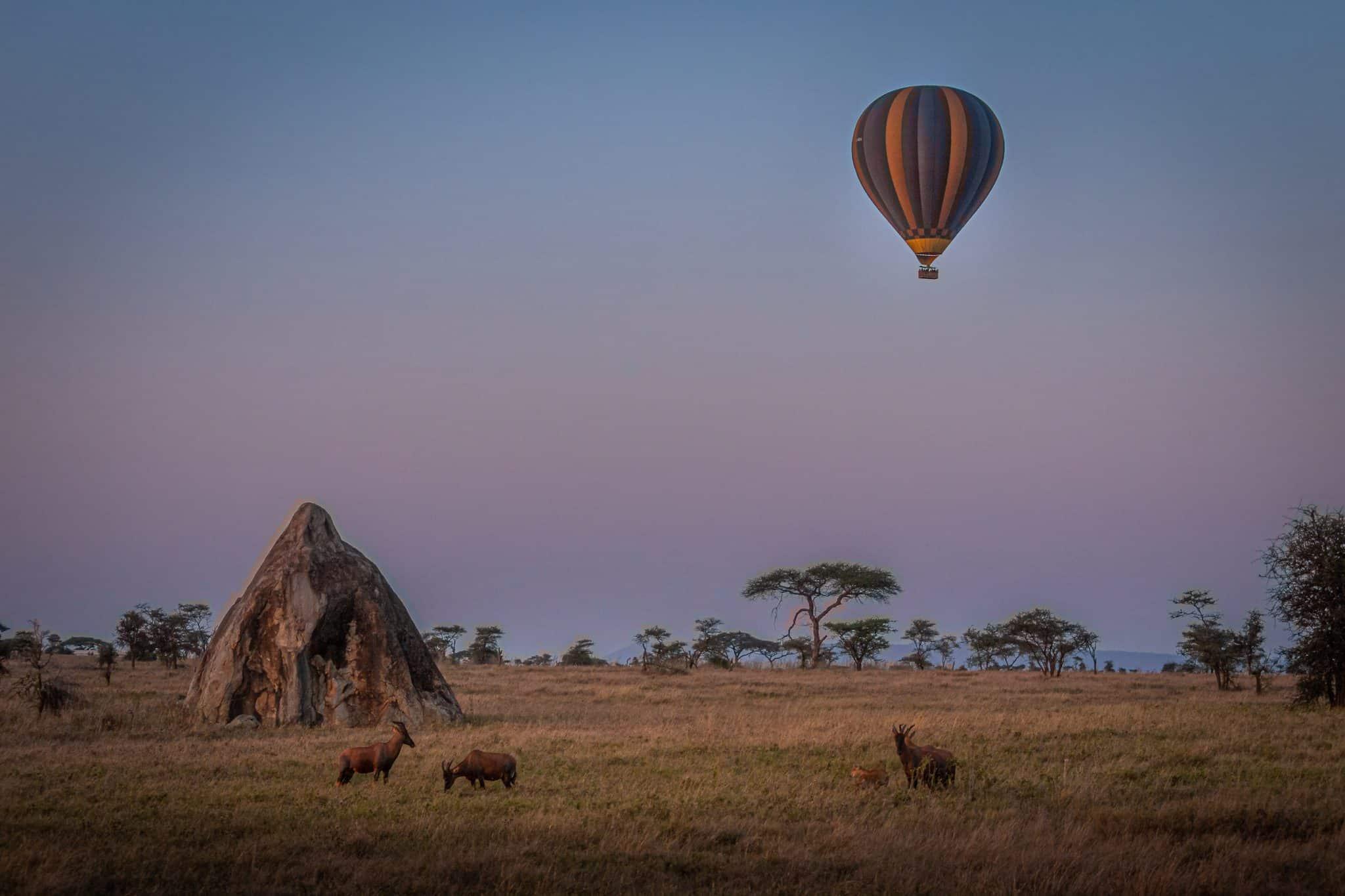 hot air balloon in Serengeti