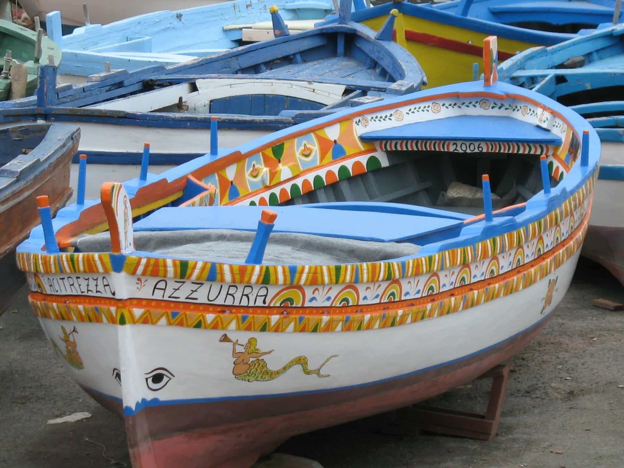 Sicily traditional fishing boats